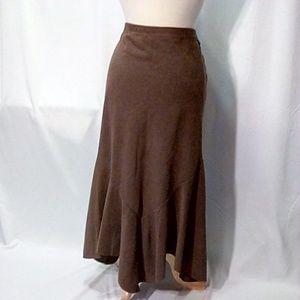 Larry Levine Size 16 Faux Suede Maxi Skirt